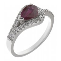 Deco curved pear shape ruby halo ring