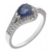 Deco curved pear shape blue sapphire and round diamond halo ring