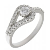 Deco curved round brilliant cut diamond halo ring