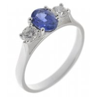 Rosaline oval shape blue sapphire and round brilliant cut diamond trilogy ring