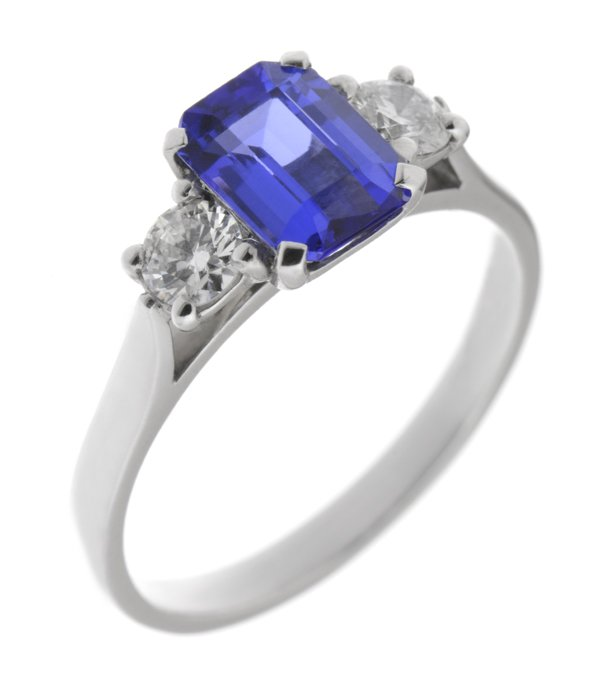 product stone assch three platinum asscher tanz with ring diamonds claw four tanzanite emerald views other cut and