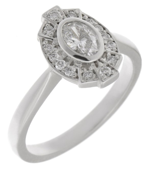 Fan Oval Diamond Ring Art Deco Engagement Halo Cluster