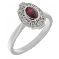 Art deco fan style oval shape ruby and diamond halo cluster ring