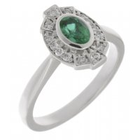 Art deco fan style oval shape emerald and diamond halo cluster ring
