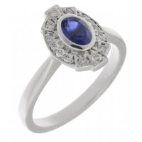 Art deco fan style blue sapphire and diamond halo cluster ring