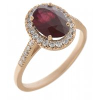 Classic claw set oval shape ruby with round diamond halo ring