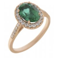 Classic claw set oval shape emerald with round diamond halo ring