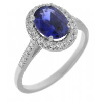 Classic claw set oval blue sapphire with round diamond halo ring