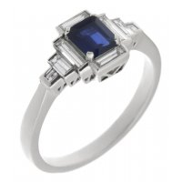 Art deco emerald cut blue sapphire and baguette diamond cluster ring