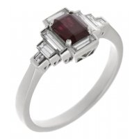 Art deco emerald cut ruby and baguette diamond cluster ring