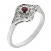 Iris art deco round ruby and diamond cluster ring
