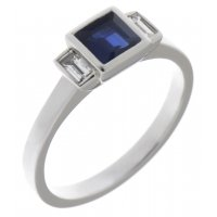 Savoy art deco square blue sapphire and baguette diamond ring