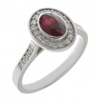 Classic rubover set oval shape ruby with round diamond halo ring