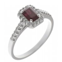 Prudence classic emerald cut ruby and round brilliant diamond halo ring