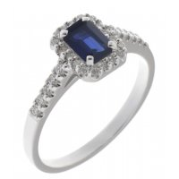 Prudence classic emerald cut blue sapphire and round brilliant diamond halo ring
