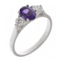 Olivia oval shape amethyst and round brilliant cut diamond trilogy ring