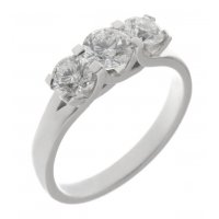Valentine round brilliant cut diamond trilogy ring with larger centre stone