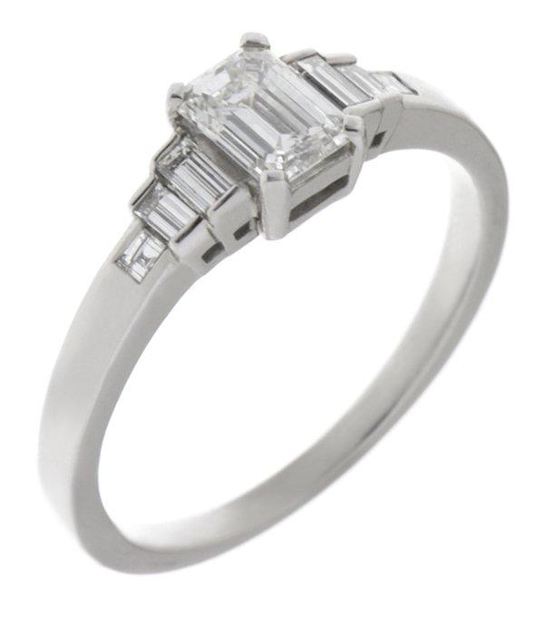 Art Deco Emerald Cut And Baguette Diamond Engagement Ring