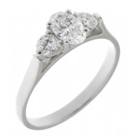 Olivia oval diamond and round brilliant cut diamond trilogy ring