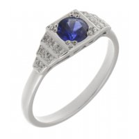 Chrysler art deco style round blue sapphire and diamond cluster ring