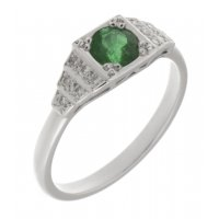 Chrysler art deco style round emerald and diamond cluster ring