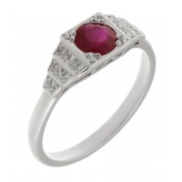 Chrysler art deco style round ruby and diamond cluster ring