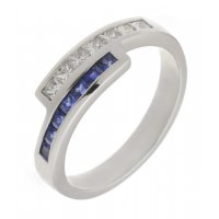 Bowie princess cut diamond and square blue sapphire crossover eternity ring