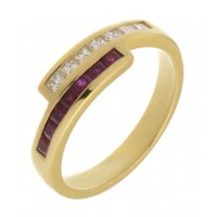 Bowie princess cut diamond and square ruby crossover eternity ring