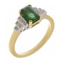 Deco step emerald cut emerald and round diamond ring