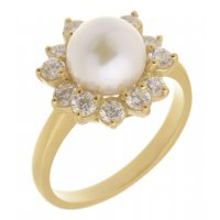Petal pearl and round diamond halo cluster ring