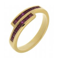 Bowie square ruby crossover eternity ring
