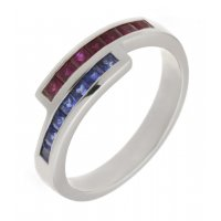 Bowie square blue sapphire and ruby crossover eternity ring