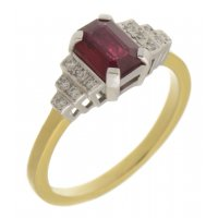 Deco step emerald cut ruby and round diamond ring