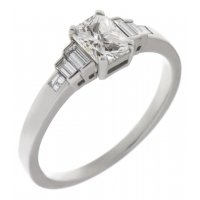 Art deco radiant cut and baguette diamond engagement ring