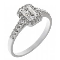 Prudence classic radiant cut and round brilliant diamond halo ring