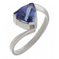 Modern trillion cut tanzanite crossover ring