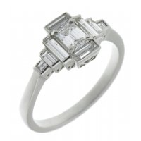 Art deco emerald cut and baguette diamond cluster ring