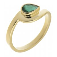 Avery modernist pear shape emerald solitaire crossover ring