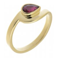 Avery modernist pear shape ruby solitaire crossover ring