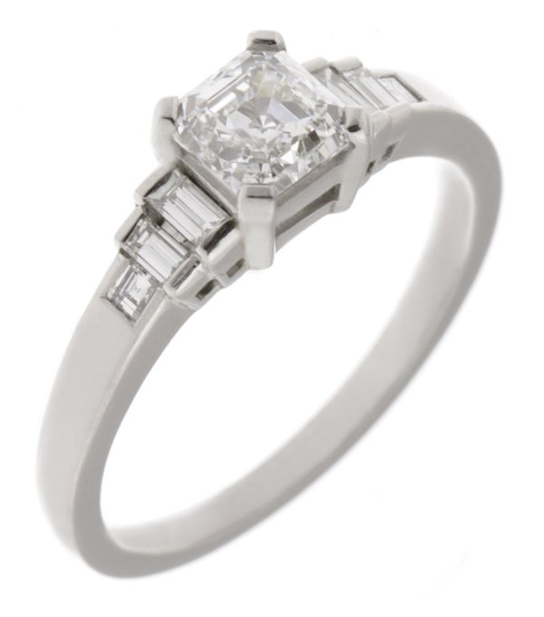 deco asscher cut and baguette engagement ring