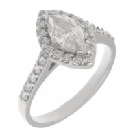 Classic marquise cut diamond and round diamond halo engagement ring