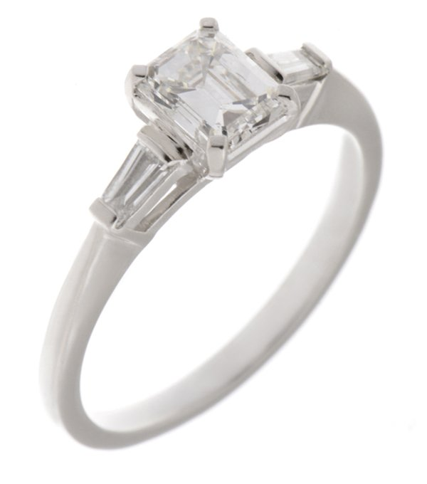 Classic Emerald Cut Diamond Engagement Ring With Baguette