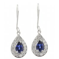 Art deco style pear shape blue sapphire and round diamond halo earrings