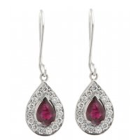 Art deco style pear shape ruby and round diamond halo earrings