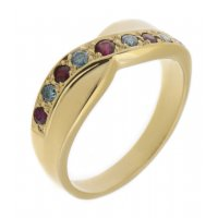 Yoga round ruby and blue diamond crossover half eternity ring