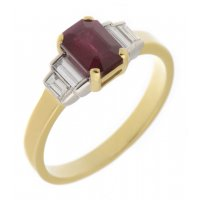Art deco emerald cut ruby and four baguette cut diamond ring