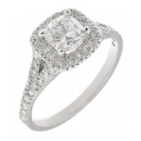 Cushion cut and round diamond halo engagement ring with split shoulders