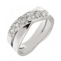 Rowley graduated round diamond crossover half eternity ring