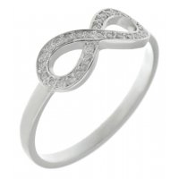 Infinity symbol full set round brilliant cut diamond eternity ring