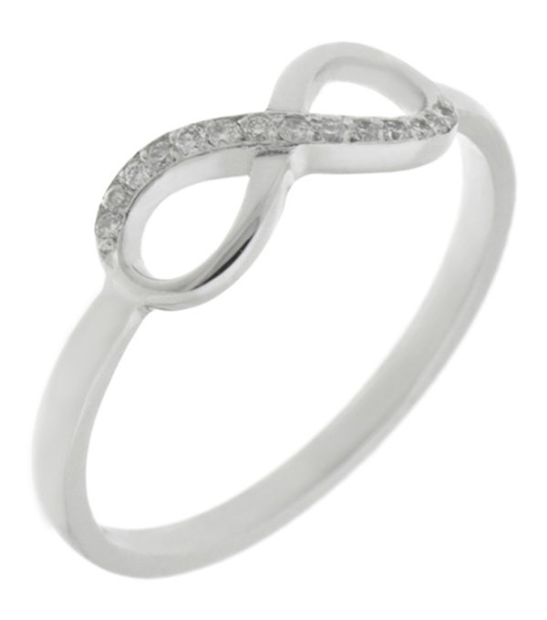 Infinity Symbol Half Set Round Brilliant Cut Diamond Eternity Ring
